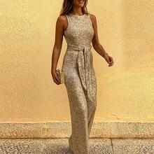 Women Jumpsuit 2020 New Glitter Round Neck Streetwear Jumpsuits