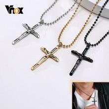 Vnox – colliers Vintage de Saint christ pour hommes, pendentif croix classique en métal inoxydable Anti-allergie, bijoux de prière