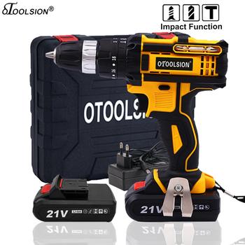 21V 18 + 3 moment obrotowy wpływ wkrętarka bezprzewodowa wiertarka akumulatorowa wiertarka udarowa zasilania narzędzia młotek wiertarka elektryczna wiertarka ręczna tanie i dobre opinie OTOOLSION Impact Drill Domu DIY 50 60HZ 45NM Drilling in Steel Wood Ceramic OT-ED-4808 1 2-2 5KGS 21 V 10MM 1600 rpm Baterii