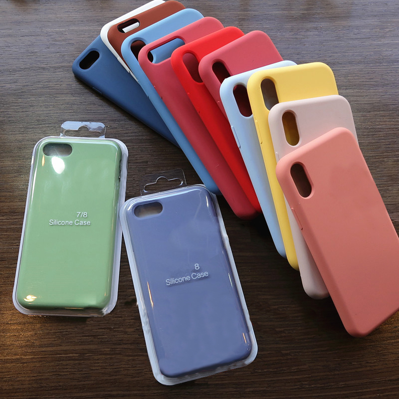 Drop shopping Liquid Silicone Phone <font><b>Case</b></font> for <font><b>iphone</b></font> X XS MAX XR 7 8 6 <font><b>6S</b></font> Plus 11 Pro Max Soft Cover <font><b>Case</b></font> with Box image