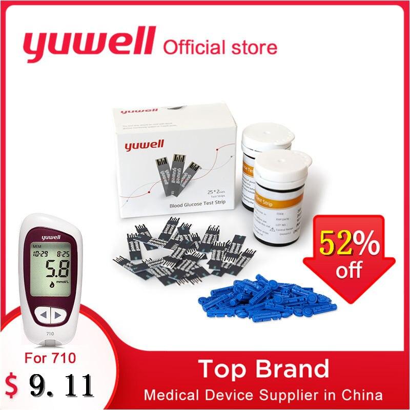 Yuwell Diabetes Glucometer Tiras de Teste do Medidor de Glicose No Sangue e Lancetas Estéreis para Os Cuidados de Saúde de Glicose No Sangue 710 720 510 520