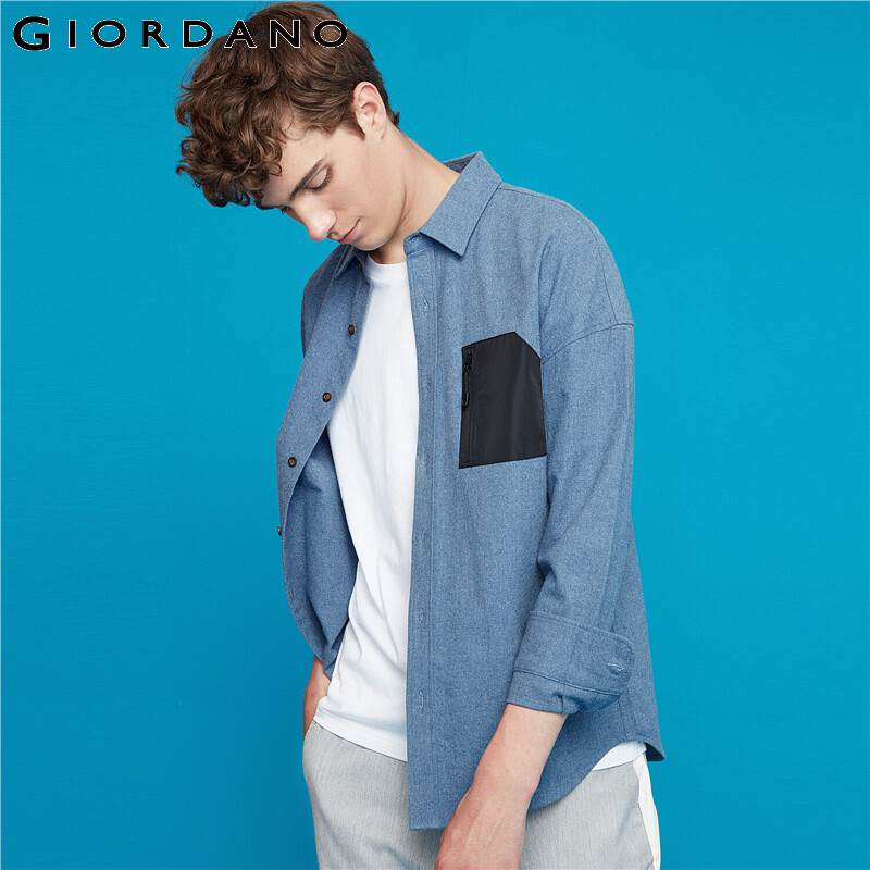 Giordano Men Shirts Flannel Patch Pockets With Zip Long Sleeve Shirt Men Cotton Slightly Thick Camisa Masculina 13049802