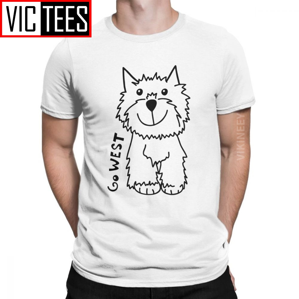 Go West West Highland White Terrier Dog Lovers Tshirt For Men Westie Funny 100 Percent Cotton T Shirt Oversized