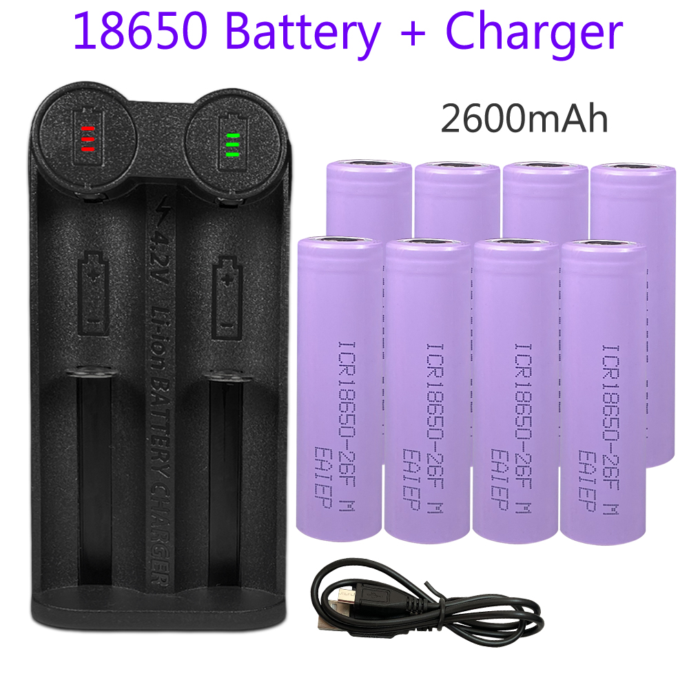 8pcs 18650 rechargeable <font><b>battery</b></font> <font><b>2200mah</b></font> <font><b>3.7v</b></font> batteria 18650 li-ion <font><b>battery</b></font> + LED charger for lithium 22700,21700,20700,18650 image