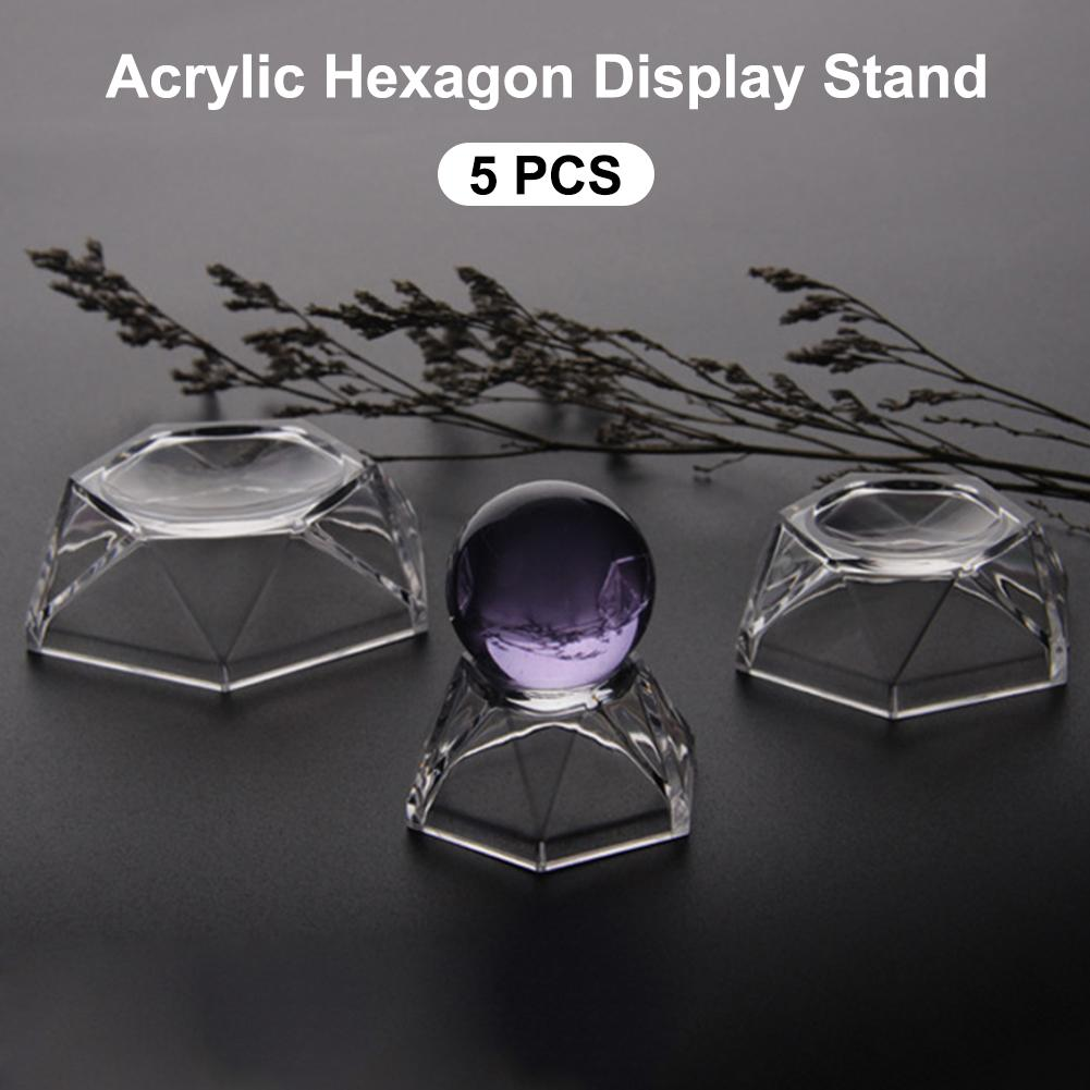 5 Pics Acrylic Hexagon Display Stand Holder For Softball Golf Tennis Baseball Marble Egg Sphere Puzzle Balls Acrylic Holder