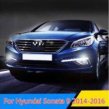 цена на 1 set For Hyundai Sonata 9 2014 2015 2016 Car LED Driving DRL Daytime Running Lights Daylight 12V ABS Fog Lamp Cover