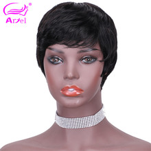 Short Pixie Lace Wigs Pixie Cut Wig Straight Brazilian Remy Hair 150% Density Machine Made Human Hair Wigs For Women Pre plucked