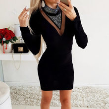 Autumn Women Mini Dress Hot Drill Wrap O Neck Sexy Hollow Mesh Lady Long Sleeve 2020 Party Club Streetwear Casual Clothes