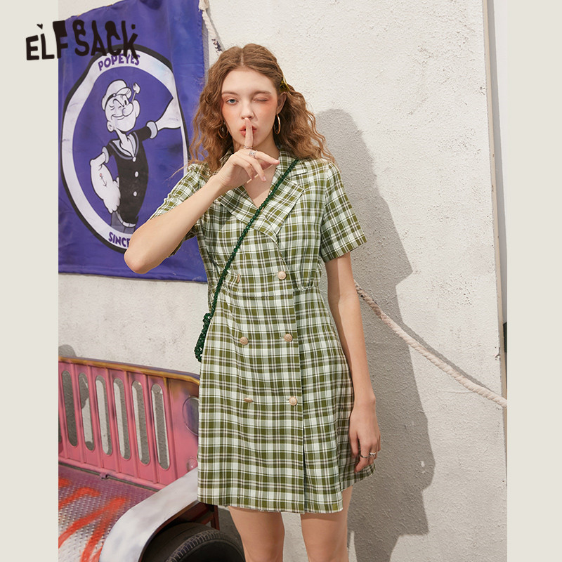 ELFSACK Green Plaid Double Chic Button Casual Preppy Mini Dresses Women 2020 Spring New Half Sleeve Ladies Korean Daily Dress