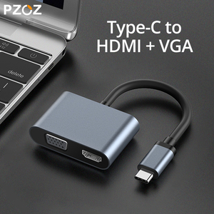 Image 5 - PZOZ USB C HDMI VGA מתאם סוג C כדי HDMI 4K TYPE C לסמסונג גלקסי S10 S9 S8 Huawei mate 20 P30 פרו USB C HDMI VGA מתאם