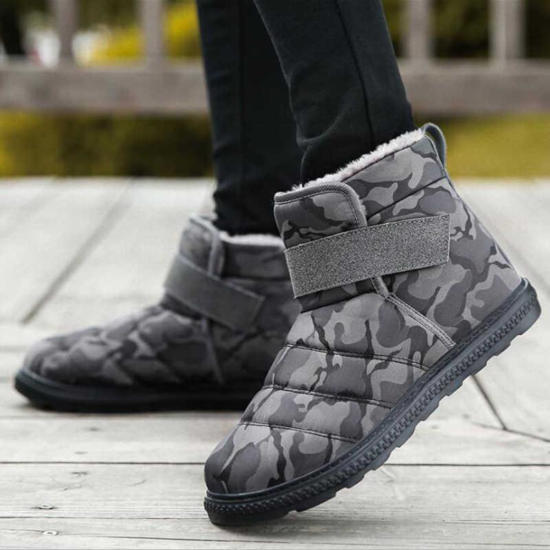 Erkek botları 2019 Unisex kış kar botları su geçirmez kaymaz kadın kar botları sıcak kürk ayakkabı kanca ve döngü erkek kışlık ayakkabılar