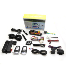 GSM car alarm PKE vehicle alarm security system with 2 remote control and push start/stop button(China)
