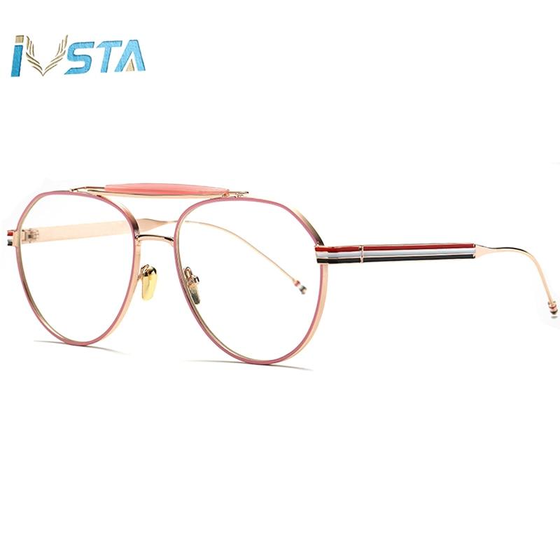 IVSTA Aviation Pilot Glasses Men Vintage Round Style Plain Thom TB Brand Design Three Color Stripes Optical Frame Pink Women Big