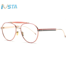 IVSTA Aviation Pilot Glasses Men Vintage Round Style Plain Thom TB Brand Design Three Color Stripes Optical Frame Pink Women Big