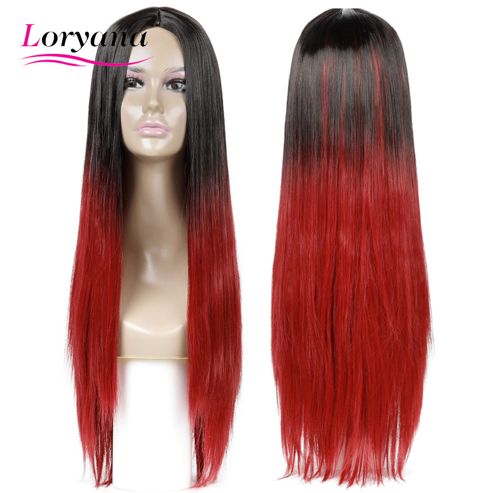 Loryana Synthetic Hair Long Straight Wigs 26 inches Black gradient wine red Wig Heat Resistant Cosplay or Party Wigs for Women