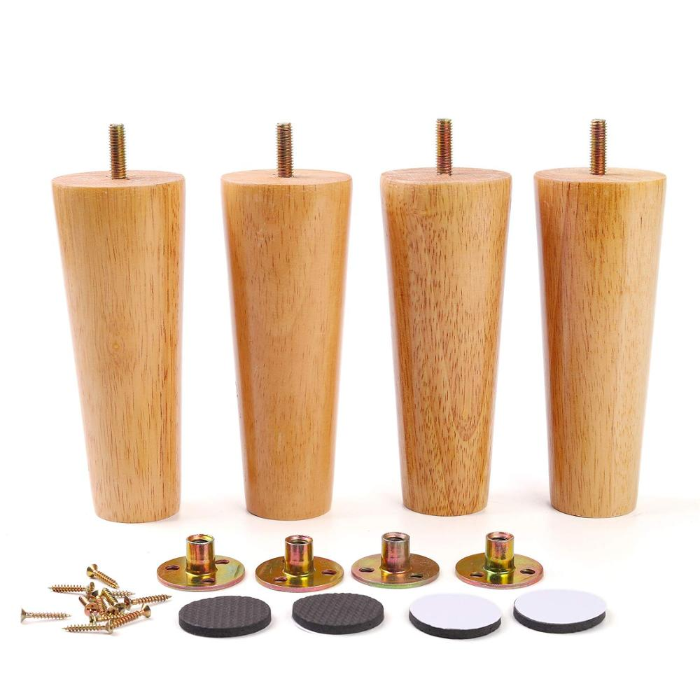 Furniture Legs Solid Wood Sofa Replacement Leg For Coffee Table Cabinet M8 With Mounting Nut Sofa Table Cupboard Feet Set Of 4
