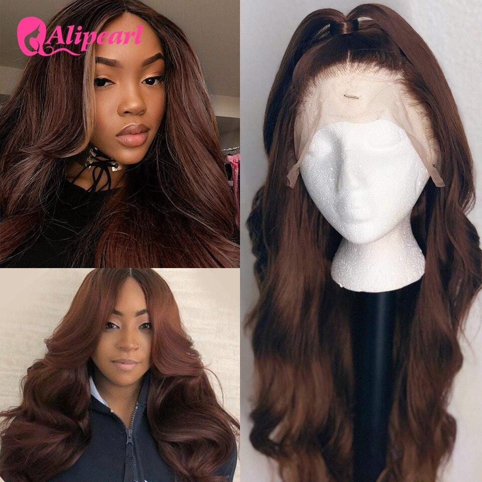 #4 farbige Spitze Front Menschliches Haar Perücken Für Schwarze Frauen Peruanische Körper Welle Menschliches Haar Perücken Pre Gezupft Remy aliPearl Haar Spitze Perücke