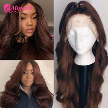Pelucas de cabello humano con encaje de colores #4 para mujeres negras, cuerpo peruano ondulado, pelucas de cabello humano Remy prearrancado, pelo AliPearl, peluca de encaje