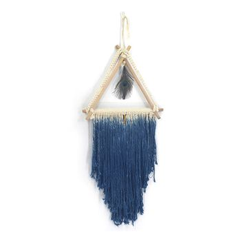 Blue Feather Macrame Woven Wall Hanging Tapestry Handmade Boho Chic Bohemian Apartment Dorm Room Home Decor