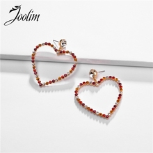 Joolim Colorfu Glass Heart Drop Earring Dangle