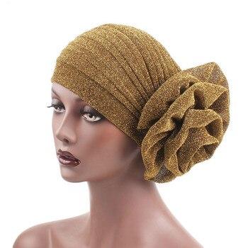 Las nuevas mujeres Hijabs turbante elástica de tela gorro para la cabeza señoras pelo accesorios bufanda Cap