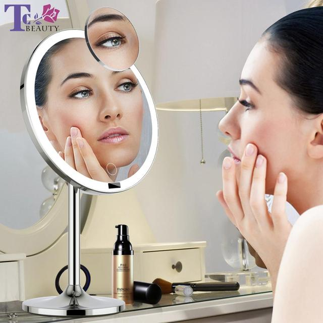 LED Touch Screen Light Makeup Mirror with 5X Magnifying Smart Sensor Desktop Vanity Mirror 8.5 inch HD Mirrors For Beauty Makeup