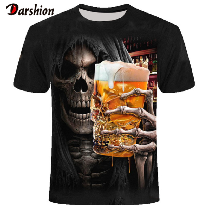 3D Skull Drinking Beer Printed Men Tshirt Casual Short Sleeve O-neck Fashion Tshirt Men/Woman Tees Top High Quality Brand Tshirt