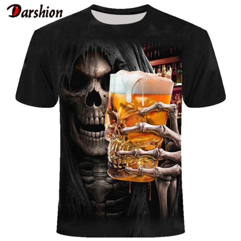 3D Skull Drinking Beer Printed Men Tshirt Casual Short Sleeve O-neck Fashion Tshirt Men/Woman Tees Top High Quality Brand Tshirt