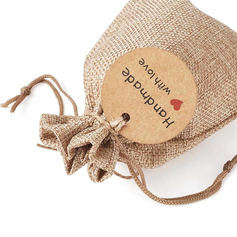 Bolsas de embalaje de arpillera pandahoor, bolsas con cordón, etiquetas de papel, precios y cordel de cáñamo, cordel para la fabricación de joyas