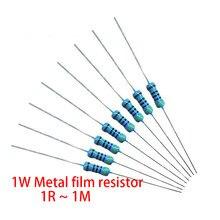 200pcs 1W Metal film resistor 1% 1R ~ 1M 2R 10R 22R 47R 100R 330R 1K 4.7K 10K 22K 47K 100K 330K 470K 1 2 10 22 47 100 330 ohm