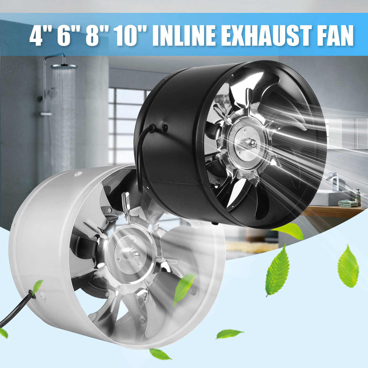 new 4 6 8 10 inch duct fan booster exhaust ventilator ventilation vent air for kitchen toilet wall exhaust fan not plug mute