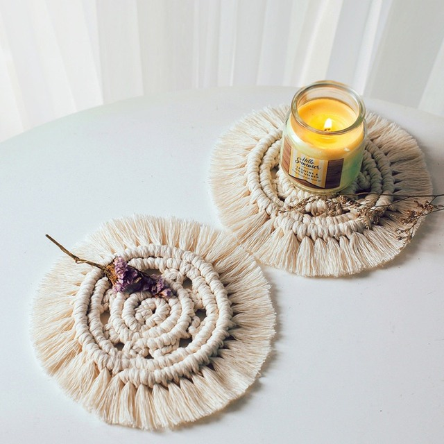 Handmade Cotton Braid Insulation Mats Northern Europe Macrame Cup Pad Bohemia Table Mat For Kitchen Home Decor 6