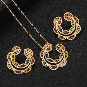 Image 2 - GODKI Sunflower Charms 2PC Nigerian Necklace Earring Jewelry Set For Women Wedding Cubic Zircon Indian Dubai Bridal Jewelry Sets