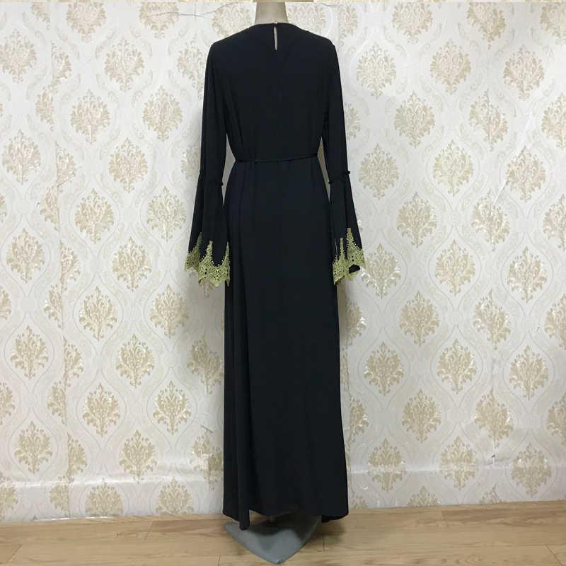 MISSJOY Abaya Muslimischen Frauen Kleid Casual Flare Long Sleeves Patchwork Oansatz Türkische Elegante Diamant Femme Robe Schwarz Kaftan 2019