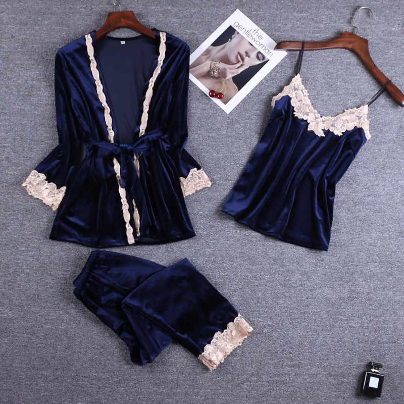 Gary azul 3PC correa superior pantalones traje de pijamas ropa de dormir conjuntos de mujer de terciopelo de primavera ropa de casa ropa Kimono bata de baño vestido Bathrob