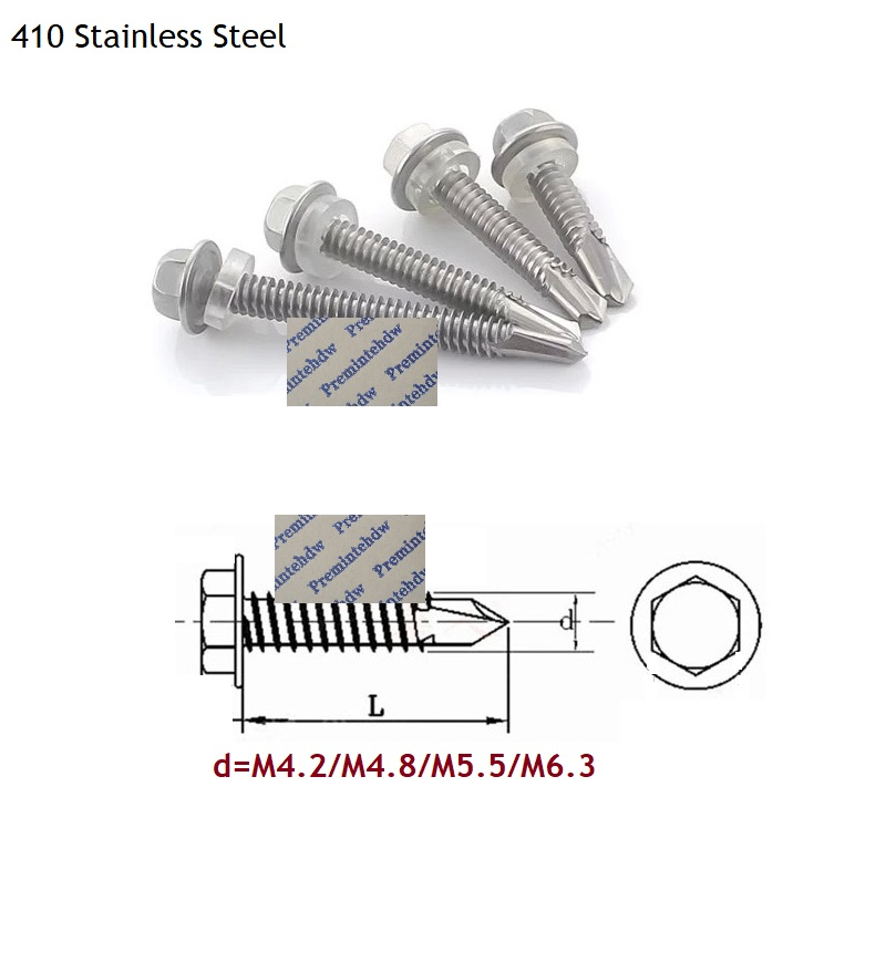 100Pcs/Lot 401 Stainless Steel Roofing Roof Self Tapping Drilling <font><b>Screw</b></font> Hex Washer Head image