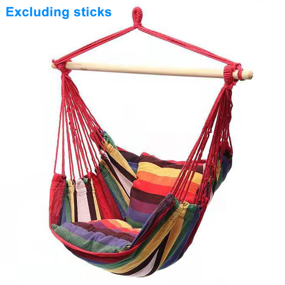 Hanging Hammock Chair With Cushion Home Outdoor Swing Garden Adults Kids Thickened Furniture Portable Indoor Bedroom Canvas