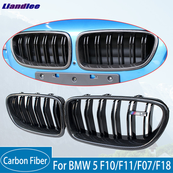 Carbon Fiber Kidney Grill For BMW 5 F10/F11/F07/F18 2010-2016 Black Dual Slat Front Kidney Racing Grille Dual Line made in taiwan carbon fiber material m5 look front kidney grill grille for bmw 5 series f10 sedan 2010 520i 525i 530i 535i