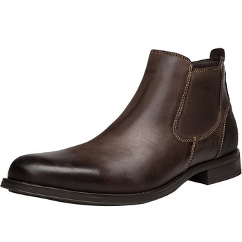EPHER Mens Leather Chelsea Boots British Oxford Boots Full Grain Leather Ankle Boots Zipper Boots