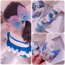 Snow Princess hairgrips sparkling butterfly tie clip dance party bow hairpin girl hair accessories