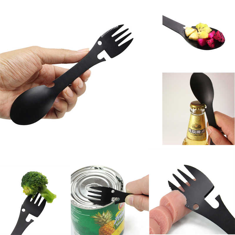 1pc Multi-function Fork Spoon 5 in 1 Stainless Steel Spork Bottle Can Opener Portable Cutlery for Outdoor Camping Picnic Hiking