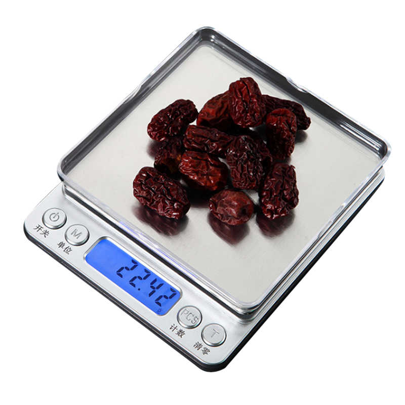 0.01/0.1g LCD o wysokiej dokładności waga cyfrowa 500g/1/2/3kg Mini elektronicznych gramów wagi skala balansu do herbaty do pieczenia waga analityczna