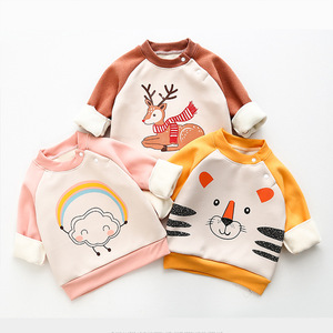 Children's Fleece Sweater For Boys And Girls Autumn Winter Clothes Pullover Long-sleeve Hooded Tops Christmas Warm Thicken Coat