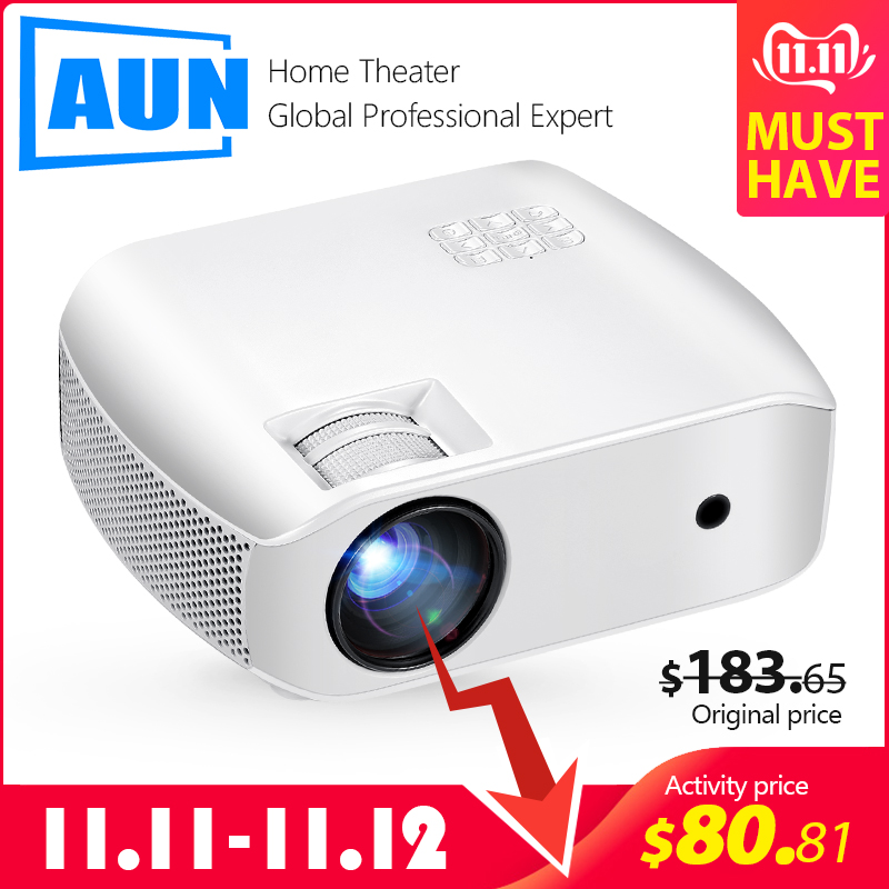 AUN MINI Projector F10UP, 1280*720P, Android 7.1 (2G+16G)  WIFI LED Proyector for 1080P 3D Home Cinema, New HDMI Video Beamer-in LCD Projectors from Consumer Electronics