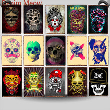 цена Sugar Skull Metal Tin Sign Mexican Style Vintage Tattoo Parlors Shop Iron Painting Decor Party Home Bar Wall Art Posters WY74 онлайн в 2017 году