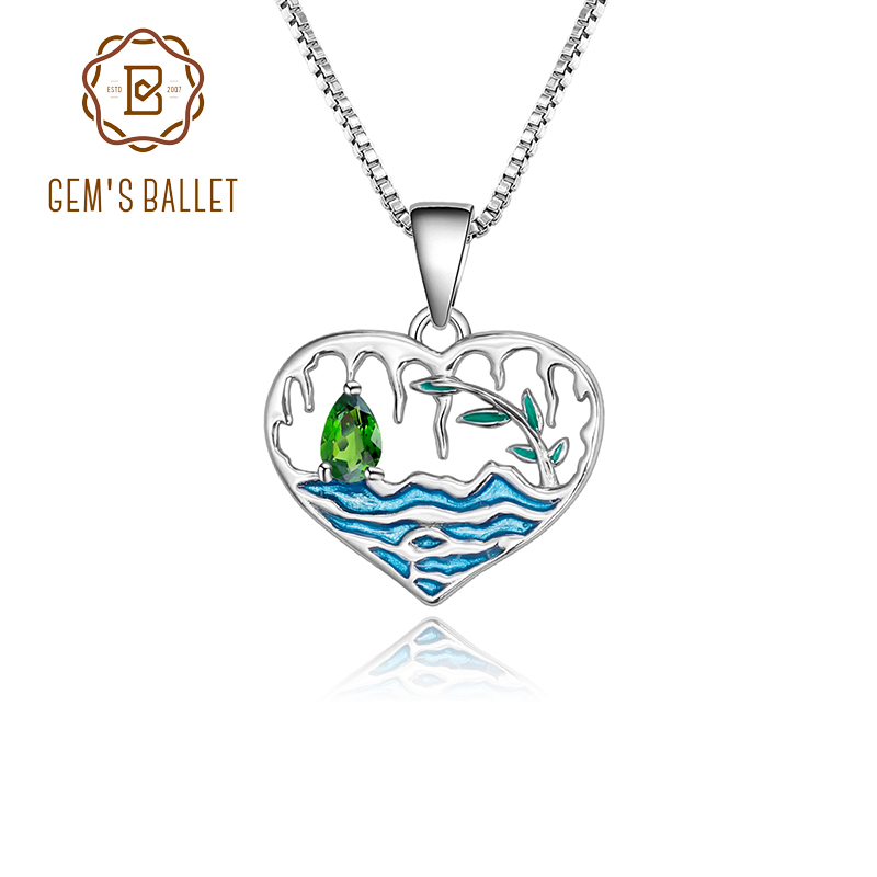 GEM'S BALLET 925 Sterling Silver Natural Chrome Diopside Gemstone Lake Willow Handmade Enamel Pendant Necklace For Women