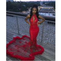 Sexy Red Long Mermaid Prom Dresses High Neck Sweep Train Feather Black Girl Formal Evening Dress Lace Appliques Party Gowns