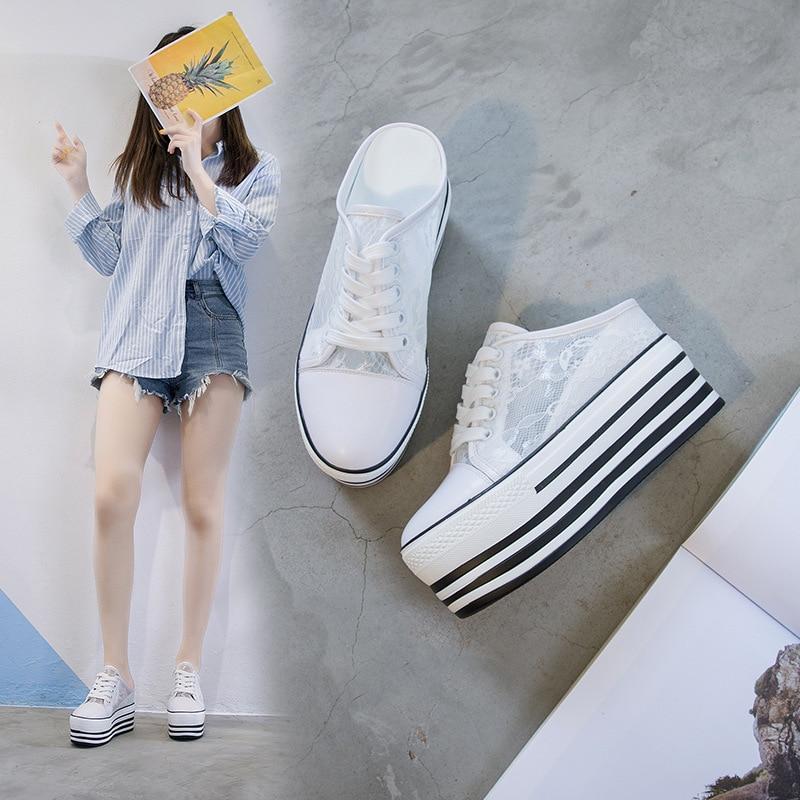 Tleni Sports Sandals Shoes Female 2019 Lace Breathable Women's Single Shoes Thick Bottom Lazy Shoes Women's Sports Shoes ZD-175