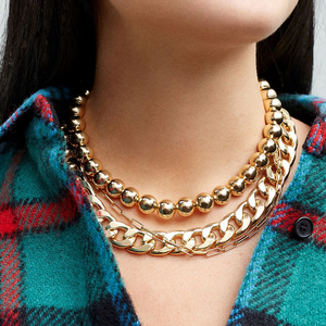 Punk Hip Hop Große Perlen Halsband Halskette Boho Gold Farbe Kubanischen Dicken Link Halskette für Frauen Kragen Schmuck Brincos 2020