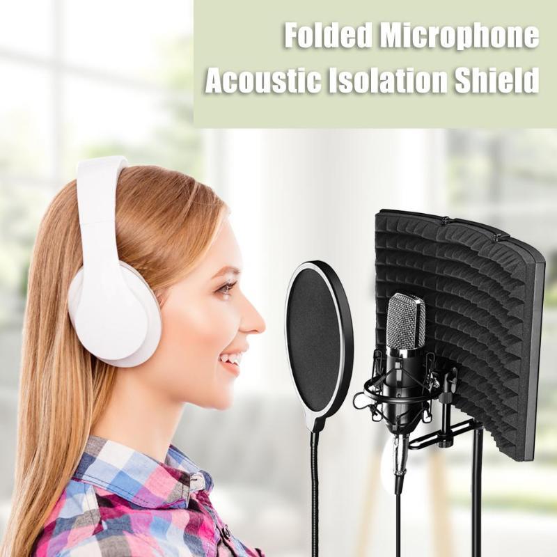 3 Folded Microphone Noise-Absorbing Adjustable Studio Metal And Sponge Sound Absorbing Foam Recording Isolator Panels